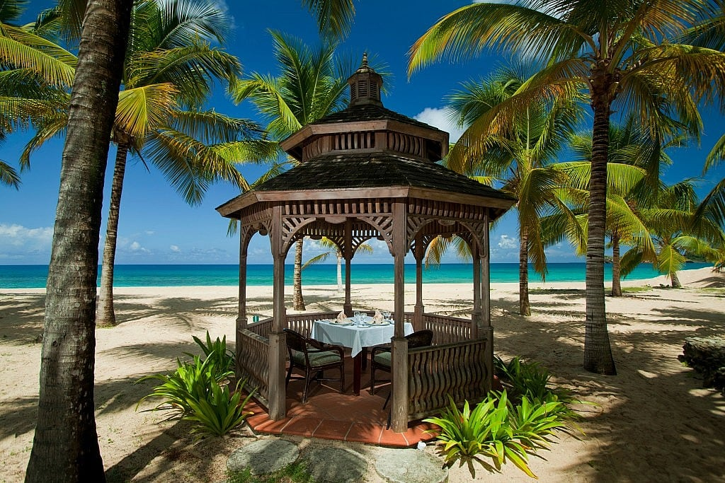 Lunch on the beach at Galley Bay, Antigua