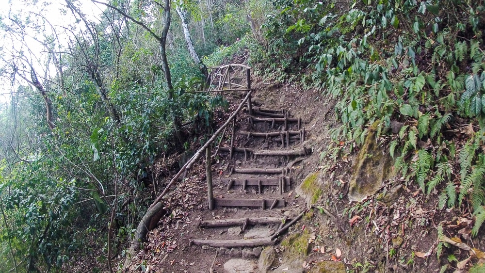 Convenient steps to start your route along the hiking trail to the top of Gros Piton