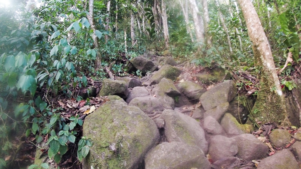 Rocks and boulders make up some of the route to the top of Gros Piton