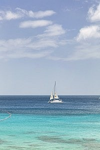 Catamaran on the West Coast of Barbados. Imagine this view from your hotel room.
