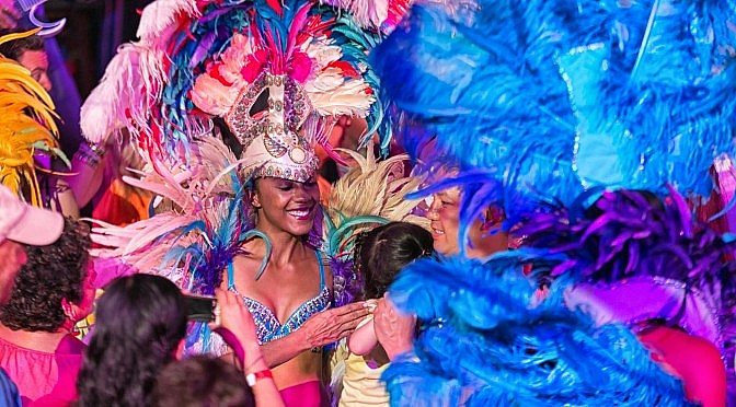 Carnaval Costume in Barbados at Harbour Lights Dinner Show