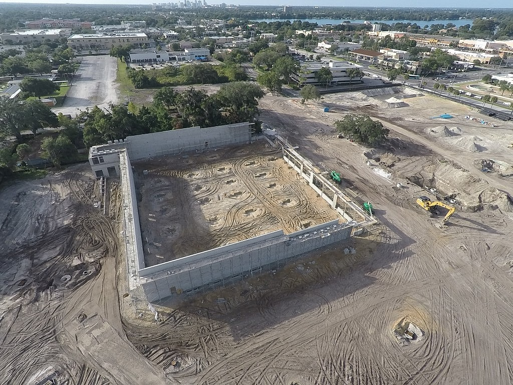 Construction site photography from the air using a drone to show progress