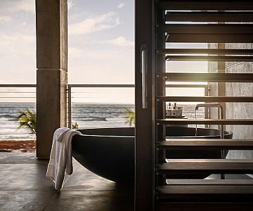 Bath on the balcony at a Luxurious Barbados Villa