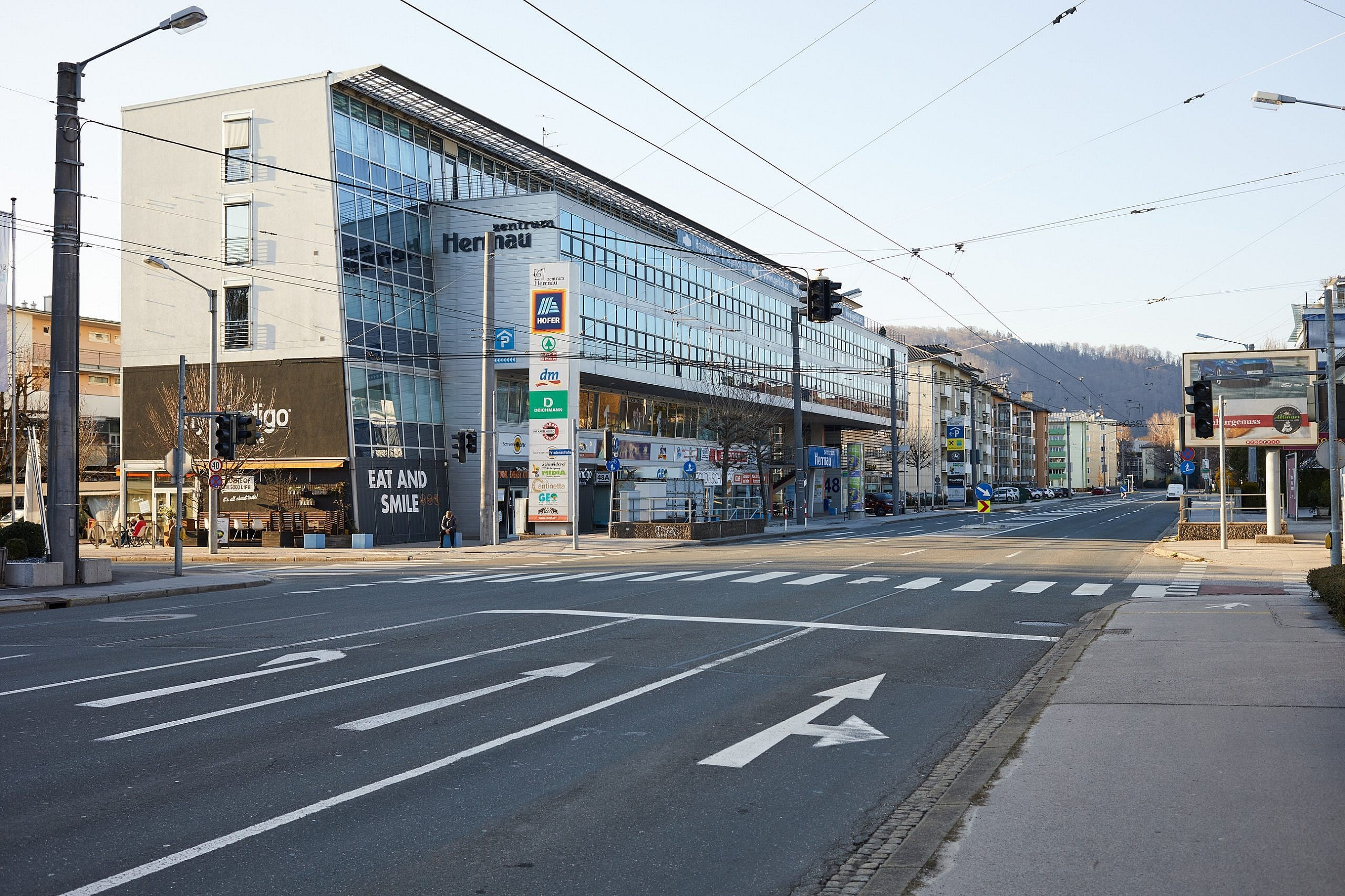 A photograph of an empty main road during first days of Coronavirus lockdown in Salzburg