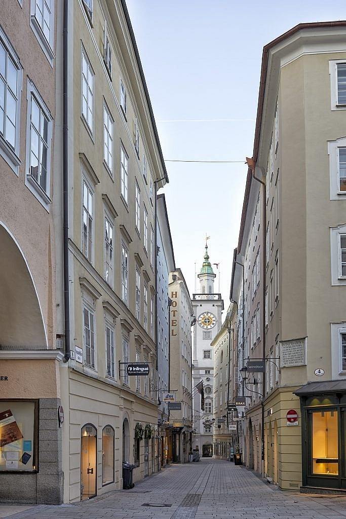 Amazing photography of a Quiet Main Street in Salzburg showing