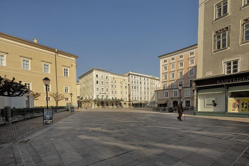 photograph of Old Market Square empty in Salzburg