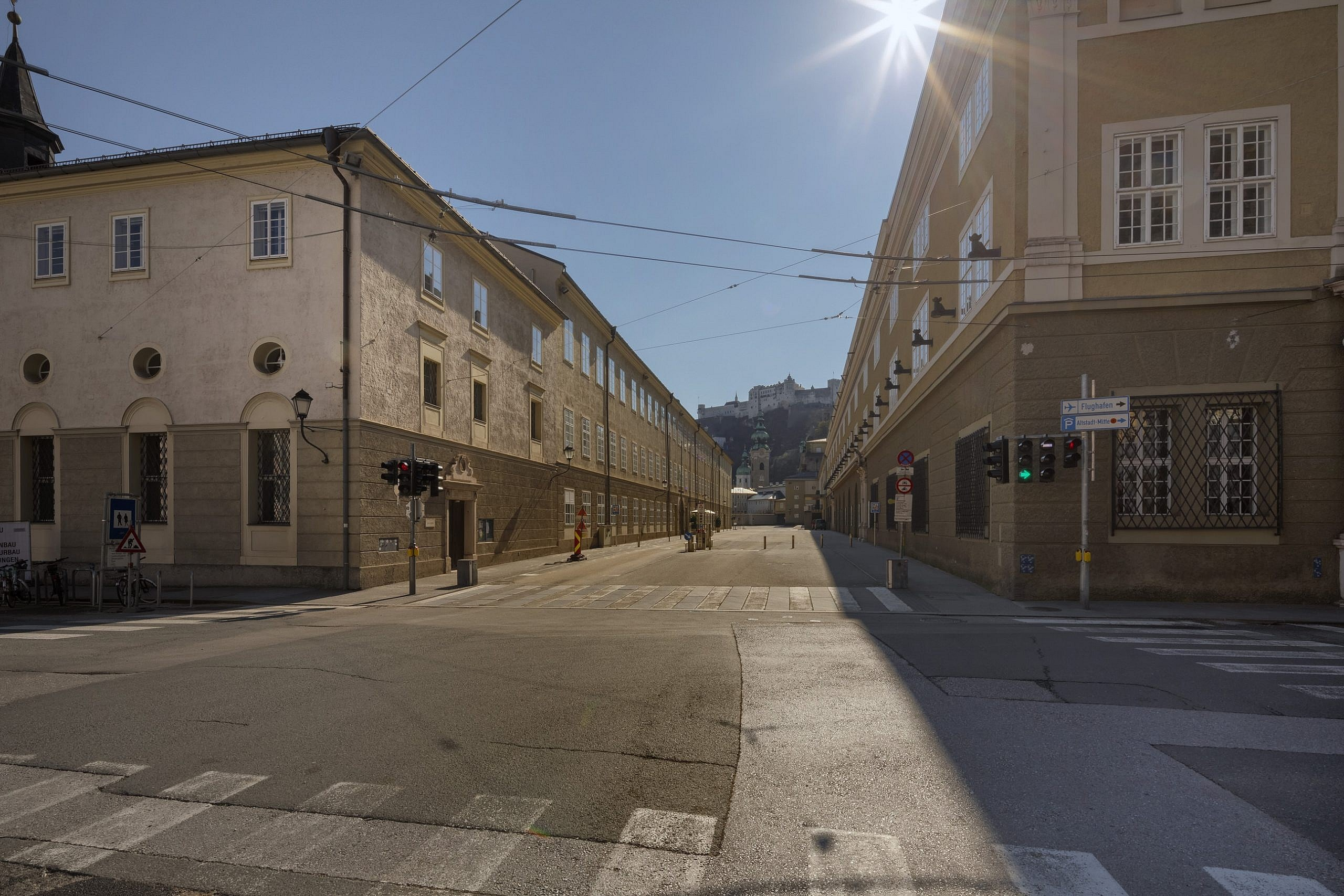 Photograph of an empty Hofstallgasse, Salzburg