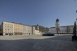 Residenzplatz, Salzburg during corona virus lockdown