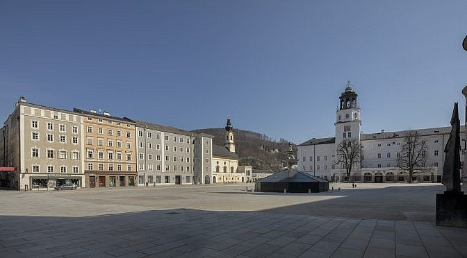 Residenzplatz, Salzburg during corona virus lockdown