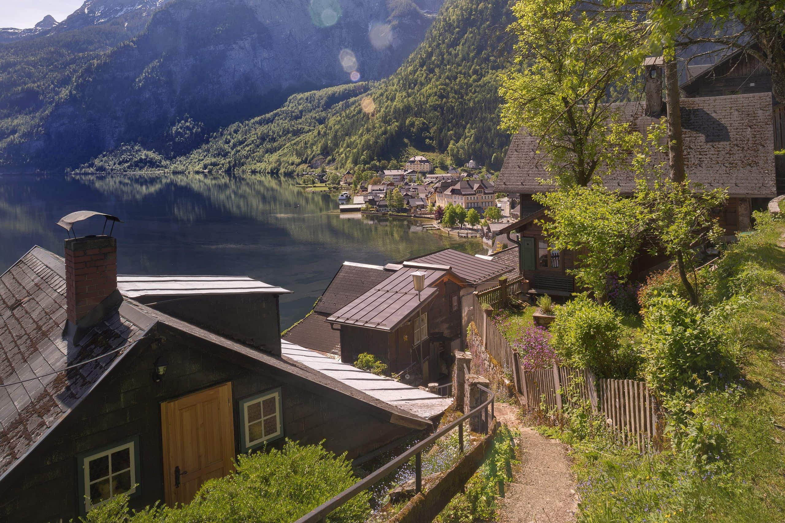 Looking down the narrow path towards the Town of Hallstatt from half way up the Hill.